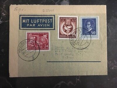 1952 Eisenach East Germany DDR Airmail Letter Cover to Fair Lawn NJ USA