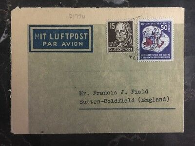 1951 Berlin East Germany DDR Airmail Letter Cover to Sutton Coldfield UK