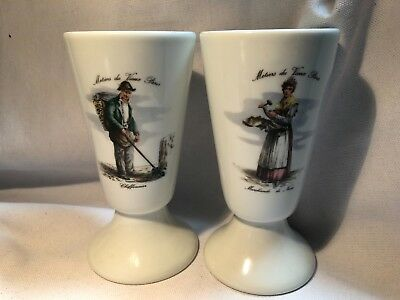 Pair of Vintage Limoges Porcelain Wine Goblets Metiers du Vieux Paris