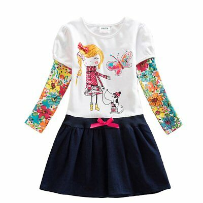 Kids Girls Winter Dress Embroidery Long Sleeve Toddler Clothes White Size 7 Tall