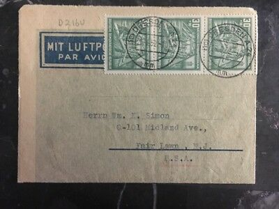1952 Dresden East Germany DDR Airmail Letter Cover to Fair Lawn NJ USA B