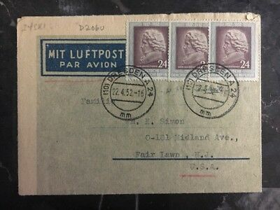 1952 Dresden East Germany DDR Airmail Letter Cover to Fair Lawn NJ USA #d2060