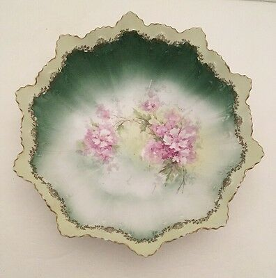 """Floral Serving Bowl Made In Austria """"STAR"""" 864 Makers Mark"""