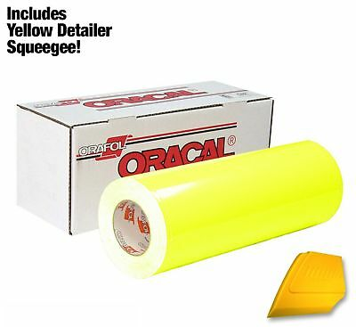 """ORACAL 6510 Fluorescent Yellow Cast Vinyl12""""x30""""Roll w/Hard Squeegee(1Roll Pack)"""