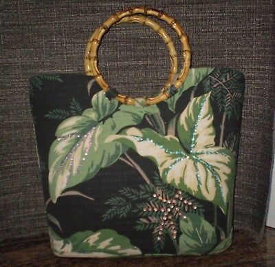 Vintage Mid Century Original Design Barkcloth Fabric Tote Bag with Bamboo Handle