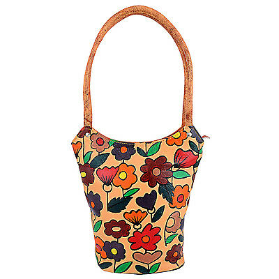 Hand Painted Genuine Leather Shopper Shoulder Bag Multi-Color Flowers Cowhide