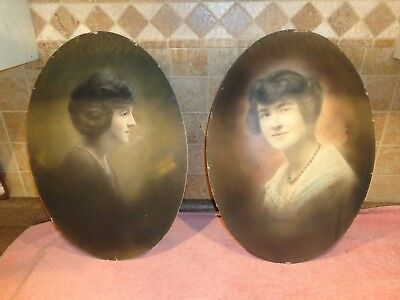 Pair of Antique Portrait's Oval Convex of Twin Sisters Chicago Illinois ~ 2 LOT