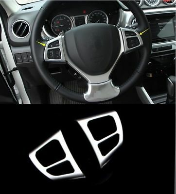 For Suzuki Vitara 2015-2016 2PCS ABS Chrome Steering wheel Cover Trim
