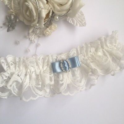 Wedding Garter, Ivory Lace with a choice of 24 colours for bow, PLUS SIZE/LARGE