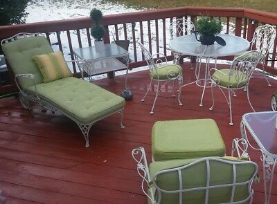 Vintage Russell Woodard Wrought Iron Patio Set, 10 Piece and cushions, Beautiful