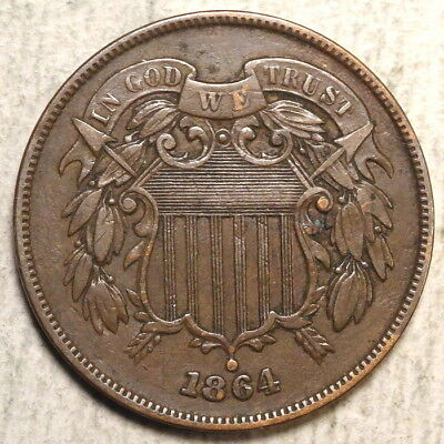 1864 Two Cent Piece, Large Date, Choice Very Fine, Nice Type Coin  0110-01