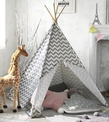 Kids Teepee Tent for Boys,5' Gray Chevron Canvas Children Play Tent for Indoor