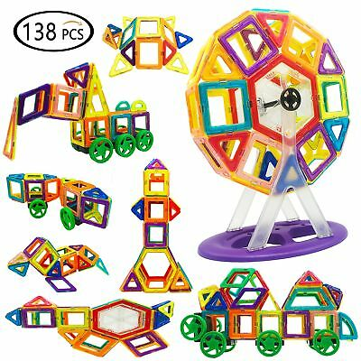 Reliancer 138PCS DIY Magnetic Building Blocks Set 3D Construction Building Tiles