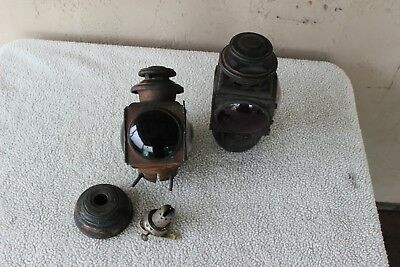 2 old antique E & J carriage Model T automotive kerosene lamp concave glass X 2