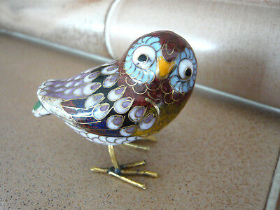 Seltene Cloisonne Eule Vogel Messing Metall Emaille 2