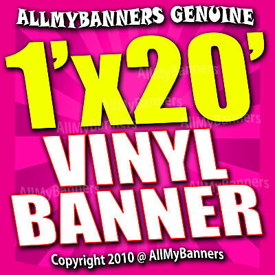 1x20 Custom Banner, Full color printing, 13oz Vinyl banner, Free SHIPPING -VLU