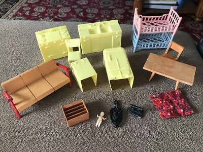 Large Lot Vintage DOLLHOUSE FURNITURE Table Chairs Beds Iron (SC)