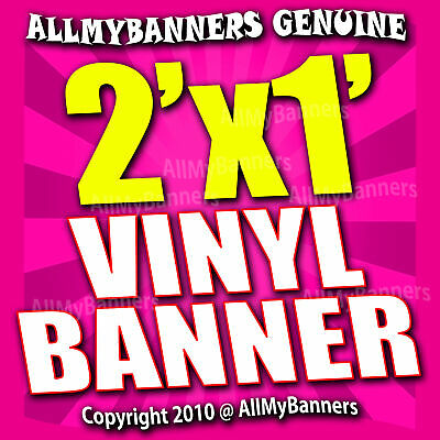 2x1 Custom Banner, Full color printing, 13oz Vinyl banner, Free SHIPPING - VLU