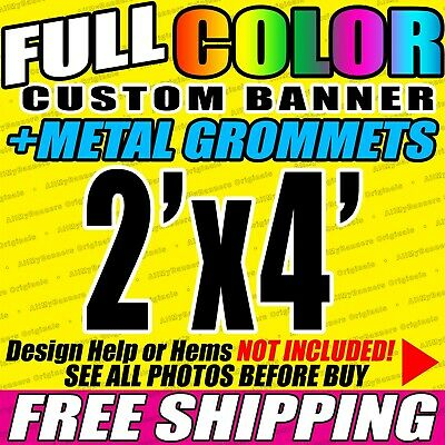 2x4 Custom Banner, Full color printing, 13oz Vinyl banner, Free SHIPPING - VLU