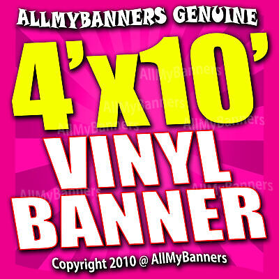 4x10 Custom Banner, Full color printing, 13oz Vinyl banner, Free SHIPPING -VLU