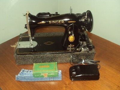 Vintage 1955 Singer Sewing Machine 15-91 Portable Heavy Duty Tested Works great!