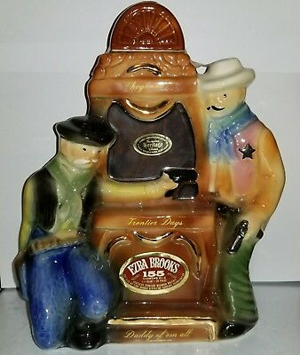 """Vintage 1970 EZRA BROOKS """"Cheyenne Shoot-Out"""" Frontier Days Whiskey Decanter"""
