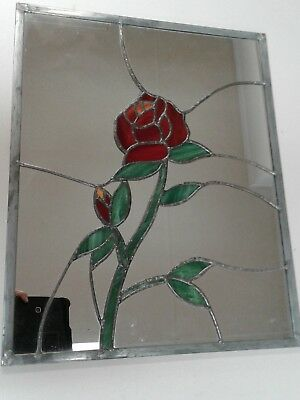 """Beautiful Leaded Stained Glass  Mirror w/rose 16"""" by 20"""", EUC"""