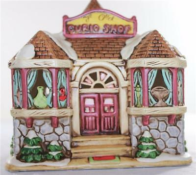 1989 Geo Z Lefton Handpainted Ye Old Curio Shop Light-Up Christmas Village House