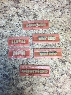 NEW Old Stock Vintage MICROMOLD Porcelain  Denture Teeth MIXED LOT. Dental Lab