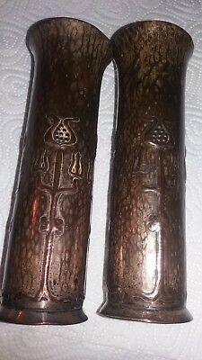 Pair Of Unusual Small Metal Vase Art Novou .maybe Arts And Crafts ?.