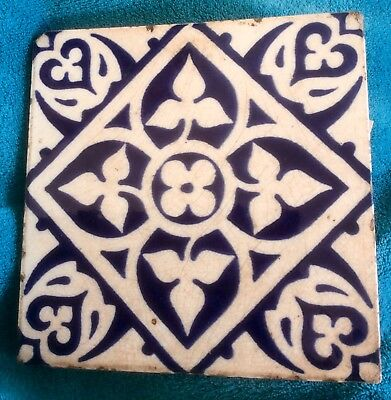 Rare 19th Century Minton Blue & White Earthenware Tile Designed By AWN Pugin