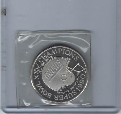 1990 New York Giants Super Bowl Champions Giants Stadium .999 Silver Coin