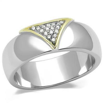 Men's Two Tone Stainless Yellow Gold Plated AAA Cubic Zircon CZ Ring 8-13 TK3187