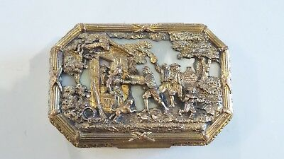 19th C. French Embossed Bronze & Mother of Pearl Trinket Box