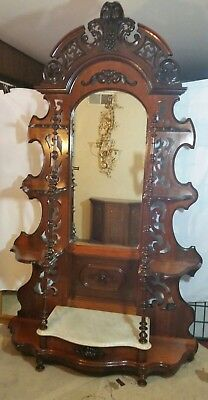 Antique Victorian Fruit & Nut  Carved Marble Top Etagere c1880