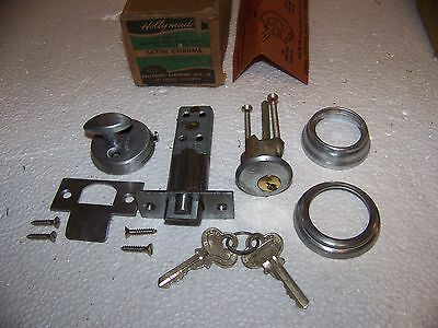 Vintage Modern Holly Made No. 3 Satin Chrome Cylinder Night Latch USA made NOS