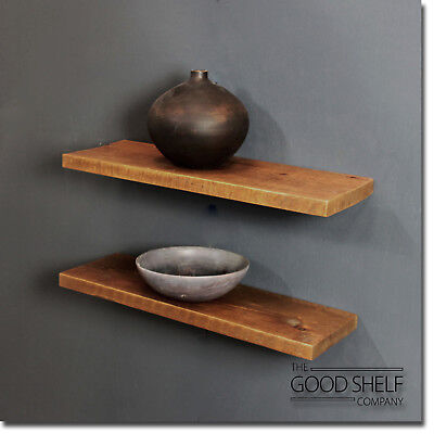 Rustic Floating Wooden Shelf - Solid Chunky 3.2cm Wood - Industrial Shelves