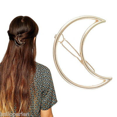 Fashion Women Girls Gold Plated Hollow Out Crescent Moon Hair Clip Hairpin