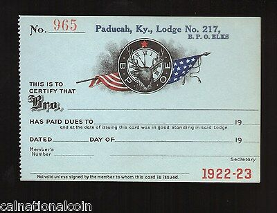 ELKS LODGE No.217 PADUCAH, KY. DUES RECEIPT No.965 BLANK TAG 1922-1923