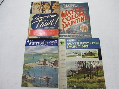 Lot of 4, Vintage Painting books, mixed lot, focusing on watercolor painting