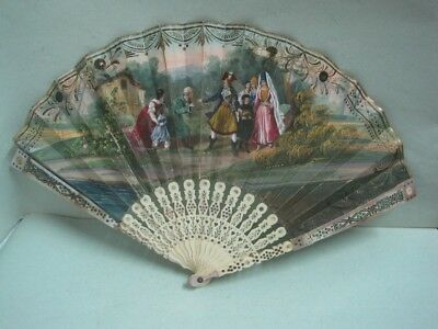 Antique fan on handpainted paper and mother of pearl