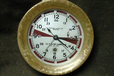 WWII US Maritime Commission Chelsea Radio Rm Ships Clock serial 288543 Jan 1942