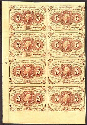 US 5c Fractional Currency 1st Issue w/ ABC Plt #57 Block of 8 FR 1230 XF-AU