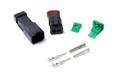 Complete Set Male/Female Ends Deutsch DTP 2-Pin Connector Kit w/ 12-16 AWG Pins