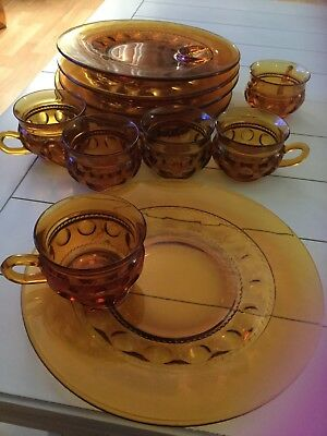 Indiana Glass Kings Crown Thumbprint Snack Set Plates and Cups (Set of 6)