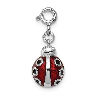 925 Sterling Silver Enamel Ladybug Solid Open back Charm Pendant 20mmx14mm