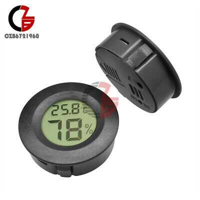 1.5V Digital Cigar Humidor Hygrometer Thermometer Round Black Face