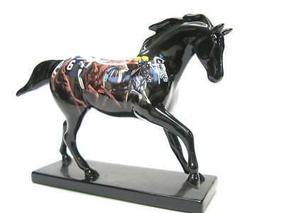 The Trail of Painted Ponies Black Horse Racing Motif - as is