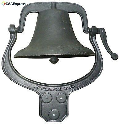 Large Cast Iron Farm Bell Heavy Duty with Authentic Tone Vintage Church School