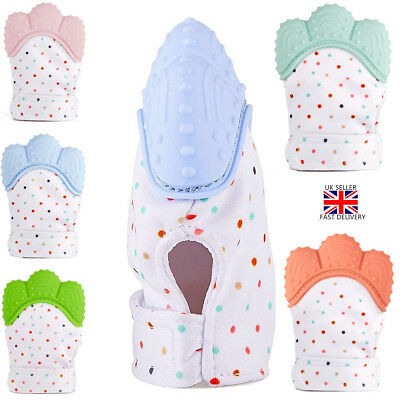 Silicone Baby Mitt Teething Mitten Teething Glove Wrapper Sound Teether FDA UK